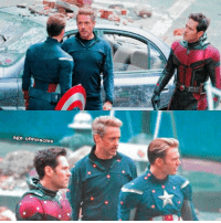 Chris Evans, Memes, and Robert Downey Jr.: age ofmiracles AVENGERS 4 set photo teases a confrontation between Tony Stark (Robert Downey Jr.) and Steve Rogers (Chris Evans) as Scott Lang (Paul Rudd) watches on.  (Andrew Gifford)