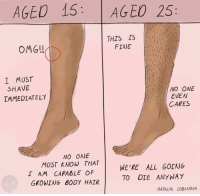 Omg, Hair, and Nihilist: AGED 15  AGED 25  THIS IS  FINE  OMG!  I MUST  SHAVE  NO ONE  EVEN  IMMEDIATELY  CARES  NO ONE  MUST KNOW THAT  WE'RE ALL GOING  I AM CAPABLE OF  TO DIE ANYWAY  GROWING BODY HAIR  NATALYA LOBANOVA Natalya Lobanova