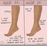 Memes, Omg, and Hair: AGED 15 AGEO 25:  OMG  THIS IS  FINE  I MUST  SHAVE  IMMEDIATELY  NO ONE  EVEN  CARES  NO ON  MUST KNOW THAT  I AM CAPABLE Of  GROWING BODY HAIR  WE'RE ALL GOING  TO OIE ANYWAY  NATALYA LOBANOVA Fack it 🤗🤗 firebitches