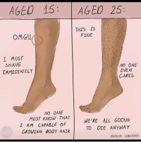 Memes, Omg, and True: AGED 15 AGEO 25:  THIS IS 1,311  OMG!  FINE  I MUST  SHAVE  IMMEDIATELY  NO ONE  EVEN  CARES  NO ONE  MUST KNOW THAT  I AM CAPABLE OF  GROWING BODY HAIR  WE'RE ALL GOING  TO OIE ANYWAY  NATALYA LOBANOVA Ladies... is this true?