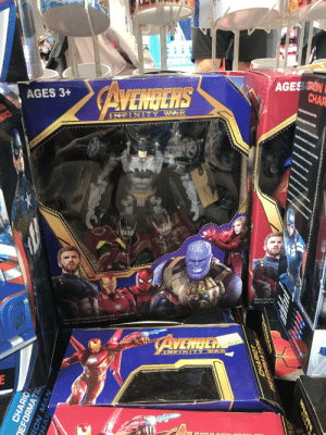 Batman, Definitely, and Meme: AGES 3+  AVENGERS  AGES RON  CHAR  RICT  INFINITY WAR  SPECIFICATI  MAY VARY FF  SPECIFICATIONS COLOURS AND CONTENTS  MAY VARY FROM ILLUSTRATIONS  AVENDER  120.00  LINTION  E  CHARIO  DEFORMATIO  BON MA  CHAP  DA  NOIVNGTFY  CHARIOT It isn't a meme but it's definitely a cross over. Batman-Transformers-Avengers Infinity War