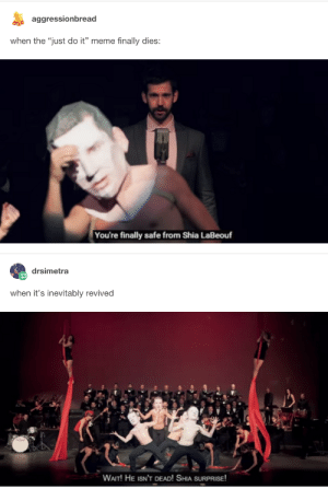 """Body Slam Superstar Shia Labeoufomg-humor.tumblr.com: aggressionbread  when the """"just do it"""" meme finally dies:  You're finally safe from Shia LaBeouf  drsimetra  when it's inevitably revived  WAIT! HE ISN'T DEAD! SHIA SURPRISE Body Slam Superstar Shia Labeoufomg-humor.tumblr.com"""