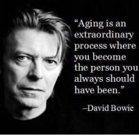 """David Bowie, Http, and Old: """"Aging is an  extraordinary  process where  you become  the person you  always should  have been.""""  David Bowie <p>Old is golden… via /r/wholesomememes <a href=""""http://ift.tt/2sIy6yr"""">http://ift.tt/2sIy6yr</a></p>"""