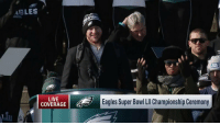 "Philadelphia Eagles, Memes, and Super Bowl: AGLES  PID  NS  LIVE  COVERAGE  Eagles Super Bowl Ll Championship Ceremony ""I hope you can get used to this.""  @cj_wentz is planning to bring back more Super Bowls to Philly.  📺: @nflnetwork https://t.co/nem8jMQcwW"