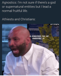 God, Life, and Memes: Agnostics: I'm not sure if there's a god  or supernatural entities but lead a  normal fruitful life.  Athiests and Christians  IG: @WHY PREE TH0 VIP  @WHY PREE TV Just say there 'might' be a God and watch them spaz out n go apeshit like ur trying to shake their faith or the lack thereof 😂😂😂 Pressed