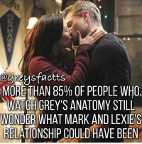 Memes, Grey's Anatomy, and 🤖: agreysfactts  MOREITHAN 85% OF PEOPLE WHO  WATCH GREY'S ANATOMY STILL  WONDER WHAT MARK AND LEXIE S  RELATIONSHIP COULD HAVE BEEN Double Tap if you miss them! 👆🏻💔 + Fact: In a recent survey the results showed that more than 85% of people who watch grey's anatomy still wonder what mark and Lexie's relationship could have been! 💔😢 + - greysanatomy greys greysfacts greysabc marksloan lexiegrey slexie