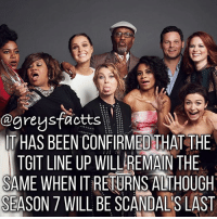 Memes, Grey's Anatomy, and Scandal: agreystractts  ITHAS BEEN CONFIRMED THAT THE  TGIT LINE UP WILL REMAN THE  SAME WHEN ITRETURNS ALTHOUGH  SEASON 7 WILL BE SCANDALS LAST TGIT 2017-2018! Grey's Anatomy S14 , Scandal S7, Htgawm S4💃🏻🍷 + Fact: It has been confirmed that the TGIT line up will remain the same when it returns although season 7 will be scandal's last season! 💃🏻🍷 + - greysanatomy greys greysfacts greysabc tgit