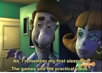 Memes, Games, and Jokes: Ah, I remember my first sleepover  The games and the practical/jokes.