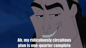 scifiseries:  What Cronk should have said.: Ah, my ridiculously circuitous  plan is one-quarter complete scifiseries:  What Cronk should have said.