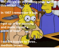 """Memes, Toast, and Homer: Ah, there's an inte  ing StarW  Coh  this nickelr  In 1957 I remember it  Was  orni  and made  piece of toast  I set the toaster to-three  medium brown """"Homer and Apu""""  (S5E13)"""