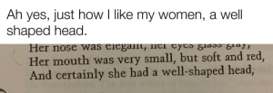 A well-shaped head. (Canterbury Tales) (OC): Ah yes, just how I like my women, a well  shaped head.  was elegamt, lier Eyts ğlad0 g1ayi  Her nose  Her mouth was very small, but soft and red,  And certainly she had a well-shaped head, A well-shaped head. (Canterbury Tales) (OC)
