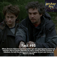 Daniel Radcliffe, Dumbledore, and Gryffindor: AHartypofter  Fact #95  When director Alfonso Cuaron couldn't get the appropriate awestruck  reaction shot of Daniel Radcliffe for Harry Potter and the Prisoner of  Azkaban, he told the young actor to imagine he just saw Cameron  Diaz in a thong. What's your favorite quote from the Prisoner of Azkaban? - harrypotter harrypotterworld harrypotterfandom harrypotterforever harrypotterandthecursedchild jkrowling dumbledore quidditch snape severussnape hogwarts gryffindor slytherin hufflepuff ravenclaw hagrid dobby ronweasley emmawatson danielradcliffe voldemort tomfelton dracomalfoy siriusblack robinwilliams hagrid