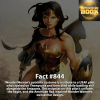 Wonder Woman - dc dccomics dccomicsfacts supervillain dcuniverse facts dcgramm dcheroes venom dcvillains beautiful dcu anime dcart cartoon photo dccomic grantgustin justiceleague flash wallywest batman batmanvsuperman flashcw barryallen theflash wonderwoman =====================================: AHEAa  BOO  Fact #844  Wonder Woman's patriotic costume is a tribute to a USAF pilot  who crashed on Themyscira and then died while battling evil  alongside the Amazons. The insignias on this pilot's uniform,  the eagle, and the American flag inspired Wonder Woman's  own armor design. Wonder Woman - dc dccomics dccomicsfacts supervillain dcuniverse facts dcgramm dcheroes venom dcvillains beautiful dcu anime dcart cartoon photo dccomic grantgustin justiceleague flash wallywest batman batmanvsuperman flashcw barryallen theflash wonderwoman =====================================