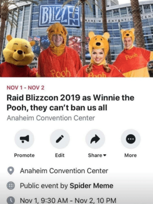 Meirl: AHEIM  ONVENT LO  Pooh  Pooh  Pooh  NOV 1  NOV 2  Raid Blizzcon 2019 as Winnie the  Pooh, they can't ban us all  Anaheim Convention Center  Promote  Edit  Share  More  Anaheim Convention Center  Public event by Spider Meme  Nov 1, 9:30 AM  Nov 2, 10 PM Meirl