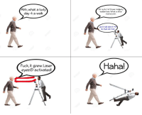 Meme, Old Man, and Smh: Ahh, what a luvly  day 4 a walk  Oh no, its 1 of those midgety  ladder bois. What a shite  meme smh  don't talk about  ik that old man  Fuck, it grew. Laser  eyezO activated!  Haha!