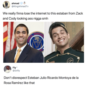 Rabbit ass not worth those creds: ahmad  @KingAhmadTv  We really finna lose the internet to this estaban from Zack  and Cody looking ass nigga smh  Fly'  @2xily  Rosa Ramírez like that Rabbit ass not worth those creds