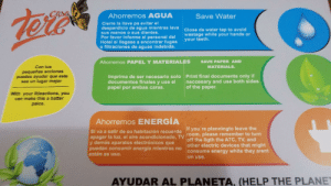 Energy, Help, and Hotel: Ahorremos AGUA  Save Water  Cierre la Ilave pa evitar el  desperdicio de agua mientras lava  sus manoS O sUs dientes.  Por favor informe al personal del  Hotel si llegase a encontrar fugas  o filtraciones de aguas indebida.  Close de water tap to avoid  wastage while your hands or  your teeth.  SAVE PAPER AND  Ahorremos PAPEL Y MATERIALES  Con tus  MATERIALS.  pequeñas acciones  puedes ayudar que este  sea un lugar mejor  Imprima de ser necesario solo Print final documents only if  documentos finales y use el  papel por ambas caras.  neccesary and use bothsides  of the paper.  With your litleactions, you  can make this a batter  paice.  Ahorremos ENERGÍA  If you're planningto leave the  Si va a salir de su habitación recuerde  apagar la luz, el aire acondicionado. Ty room. please remember to turn  y demás aparatos electrónicos que  puedan consumir energía mientras no  estén es uso.  off the ligth the A7C, TV, and  other electric devices that might  consume energy white they arent  on use.  AYUDAR AL PLANETA, (HELP THE PLANE This one is filled with great engrish
