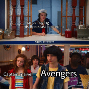 daily-meme:  Let's go get this s(o)n of a bit©h: AHOY  Thanos having  his Breakfast in garden  Again? Seriously?  Avengers  Captain marvel daily-meme:  Let's go get this s(o)n of a bit©h