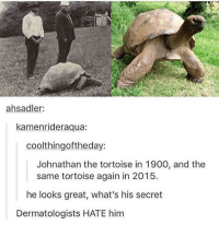 Youth, Secret, and Him: ahsadler:  kamenrideraqua:  coolthingoftheday:  Johnathan the tortoise in 1900, and the  same tortoise again in 2015.  he looks great, what's his secret  Dermatologists HATE him <p>Eternal youth</p>