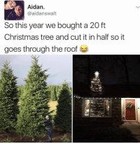 Christmas, Memes, and Christmas Tree: Aidan.  @aidan swalt  So this year we bought a 20 ft  Christmas tree and cut it in half so it  goes through the roof