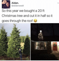 Memes, Christmas Tree, and Trees: Aidan.  @aidans walt  So this year we bought a 20 ft  Christmas tree and cut it in half so it  goes through the roof