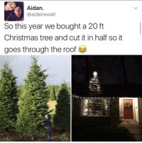 Memes, Christmas Tree, and 🤖: Aidan  aidanswalt  So this year we bought a 20 ft  Christmas tree and cut it in half so it  goes through the roof How do you even think of this😍