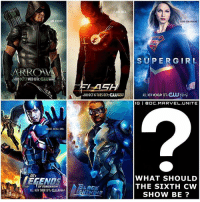 What should be the 6th CW - DCTV Show ? 🤔 So far we have SuperGirl on Mondays at 8-7 c, TheFlash on Tuesdays at 8-7 c, LegendsofTomorrow on Tuesdays at 9-8 c, Arrow on Wednesdays at 8-7 c and Now BlackLightning may Air Thursday's at 8-7 c before RiverDale ! Comment Below what the Next Show should be in The Arrowverse…and what Day should it Air on…or are there already too Many DC Shows taking Up your Week ? 😂 I was thinking we could get a YoungJustice - TeenTitans Show like the Cancelled ' Titans' Show that was supposed to Air on TNT ! 💥 TheCW: AIM, HIGHER.  AR ROMA  WED 87c  PEF  EGENTS  All NEA THUR 8/7c CUUDER  0CT6 TUES 8/7c  SUPER GIRL  ALL NEW MONDAY 8T:CUUTEty  IG I BOC MARVEL UNITE  WHAT SHOULD  THE SIXTH CW  SHOW BE What should be the 6th CW - DCTV Show ? 🤔 So far we have SuperGirl on Mondays at 8-7 c, TheFlash on Tuesdays at 8-7 c, LegendsofTomorrow on Tuesdays at 9-8 c, Arrow on Wednesdays at 8-7 c and Now BlackLightning may Air Thursday's at 8-7 c before RiverDale ! Comment Below what the Next Show should be in The Arrowverse…and what Day should it Air on…or are there already too Many DC Shows taking Up your Week ? 😂 I was thinking we could get a YoungJustice - TeenTitans Show like the Cancelled ' Titans' Show that was supposed to Air on TNT ! 💥 TheCW