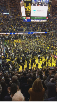 West Virginia fans rush court and sing Country Roads after beating Baylor: AINEERS WIN  RESPECT  UNITED BANK  MOUNTAINEER  MOUNTAINEERAWINI West Virginia fans rush court and sing Country Roads after beating Baylor