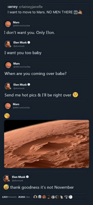 Frick, Mars, and Dank Memes: ainey (@laineyjanelle  I want to move to Mars. NO MEN THERE  Mars  @4thFromOurStar  I don't want you. Only Elon.  Elon Musk  @elonmusk  I want you too baby  Mars  @4thFromOurStar  When are you coming over babe?  Elon Musk  @elonmusk  Send me hot pics & I'll be right over  Mars  @4thFromOurStar  Elon Musk  @elonmusk  thank goodness it's not November  4,822 Retweets 20,816 Likes What in the frick just happened