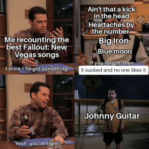 Head, Las Vegas, and Yeah: Ain't that a kick  in the head  Heartaches by  the number  Big Iron  Me recounting the  best Fallout: New  Blue moon  Vegas songs  If you forgot, then  I think I forgot something.  it sucked and no one likes it  Johnny Guitar  Yeah, you're right I had to do it to em