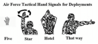 "Internet, Air Force, and Games: Air Force Tactical Hand Signals for Deployments  Hotel  That way  Five  Star It's all fun and games until the internet goes down and they can't use their ""substandard living pay"" to order inflatable air mattresses while at Kandahar Airfield."