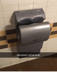 Give it a go 😂 | More 👉 @miinute: airblade dB  dyson  dyson  Messiest urinal ever Give it a go 😂 | More 👉 @miinute
