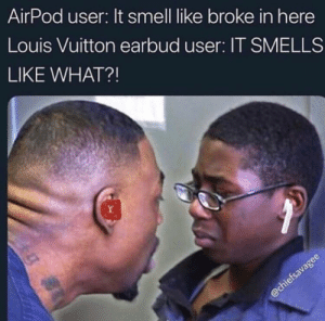 Dank, Memes, and Smell: AirPod user: It smell like broke in here  Louis Vuitton earbud user: IT SMELLS  LIKE WHAT?! New tax bracket who's this? by shankmoney7 MORE MEMES