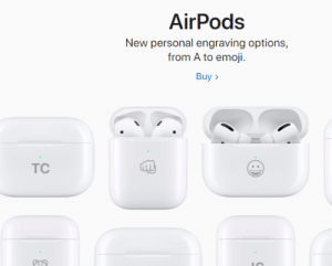 Apple has a brofist engraved on AirPods on their website.: AirPods  New personal engraving options,  from A to emoji.  Buy >  TC Apple has a brofist engraved on AirPods on their website.