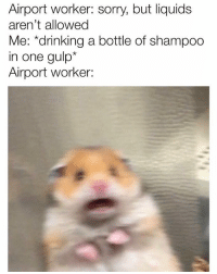 Drinking, Memes, and Sorry: Airport worker: sorry, but liquids  aren't allowed  Me: *drinking a bottle of shampoo  in one gulp*  Airport worker: Sorry TSA ¯\_(ツ)_-¯