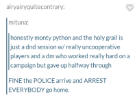 Police, Home, and DnD: airyairyquitecontrary:  mituna:  honestly monty python and the holy grail is  just a dnd session w/really uncooperative  players and a dm who worked really hard on a  campaign but gave up halfway through  FINE the POLICE arrive and ARREST  EVERYBODY go home. And there was much rejoicing