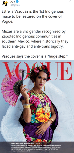 "endangered-justice-seeker:Hell yes: AJ+  Aj  @ajplus  Estrella Vazquez is the 1st Indigenous  muxe to be featured on the cover of  Vogue  Muxes are a 3rd gender recognized by  Zapotec Indigenous communities in  southern Mexico, where historically they  faced anti-gay and anti-trans bigotry.  Vazquez says the cover is a ""huge step.""   AIENO  Vogue Mex y Latam@VogueMexico Nov 18  #MUXE ' Naa : Érase una vez una tierra llena de magia, filigranas en oro e iguanas, en la  que la cálida brisa aún susurra LEYENDAS al oído de los transeúntes. Desde tiempos  INMEMORIALES, comienza la historia del tercer género y llega a la PORTADA de  @voguemexico, Diciembre 2019.  Por Tim Walker endangered-justice-seeker:Hell yes"