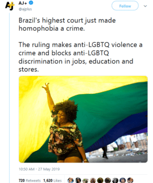 gahdamnpunk:This is amazing news especially considering their president: AJ+  Aj  Follow  @ajplus  Brazil's highest court just made  homophobia a crime.  The ruling makes anti-LGBTQ violence a  crime and blocks anti-LGBTQ  discrimination in jobs, education and  stores.  10:50 AM 27 May 2019  720 Retweets 1,620 Likes gahdamnpunk:This is amazing news especially considering their president