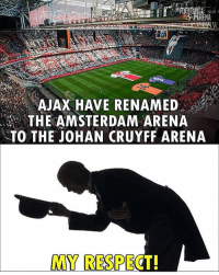 Memes, Respect, and Amsterdam: AJAX HAVE RENAMED  THE AMSTERDAM ARENA  TO THE JOHAN CRUYFF ARENA  MY RESPEC Respect❤