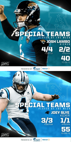 @Browns @NickChubb21 @Buccaneers @Jaboowins @Headshoulders @Patriots @KVN_03 @Giants @JjenkzLockdown Special Teams Players of the Week (Week 4):   AFC: @Jaguars K @JoshLambo NFC: @Panthers K Joey Slye   (by @Headshoulders) https://t.co/mAmiDqxevf: AK  SPECIAL TEAMS  PLAYER OF THE WE EK  JOSH LAMBO  KICKER  4/4 2/2  FGM/FGA  ХРМ/ХРА  40  YD GW FG  NFL  PRESENTED BY head&  shoulders  Walmart   PENTGERS  SEASONS  SPECIAL TEAMS  PLAYER OF THE WEEK  RJOEY SLYE  KICKER  3/3 1/1  FGM/FGA  ХРМ/ХРА  55  YD GW FG  NFL  PRESENTED BY head&  shoulders  Walmart @Browns @NickChubb21 @Buccaneers @Jaboowins @Headshoulders @Patriots @KVN_03 @Giants @JjenkzLockdown Special Teams Players of the Week (Week 4):   AFC: @Jaguars K @JoshLambo NFC: @Panthers K Joey Slye   (by @Headshoulders) https://t.co/mAmiDqxevf