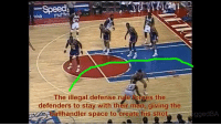 Memes, 🤖, and Rye: ake mufflet  The illegal defense rye forces the  defenders to stay with their man, giving the  ballhandler space to create his shot  iggedBA The zone defense wasn't allowed until 2001.   Credit: TheRiggedBA