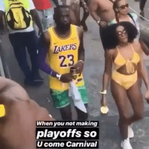 Doppelganger, Carnival, and Via: AKERS  23  When you not making  playoffs so  U come Carnival Bron's doppelgänger is already in the offseason 😂  (via @michellethi24)