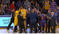 Los Angeles Lakers, Memes, and Wat: AKERS  LOPEZ  Il  ULIS  OFFICI  WAT 6'5 KCP vs 5'9 Tyler Ulis. For the the third time this season, things got chippy between the Lakers and Suns.   ➡️ https://t.co/YBGM7Uh1mb https://t.co/uMC78GTylX