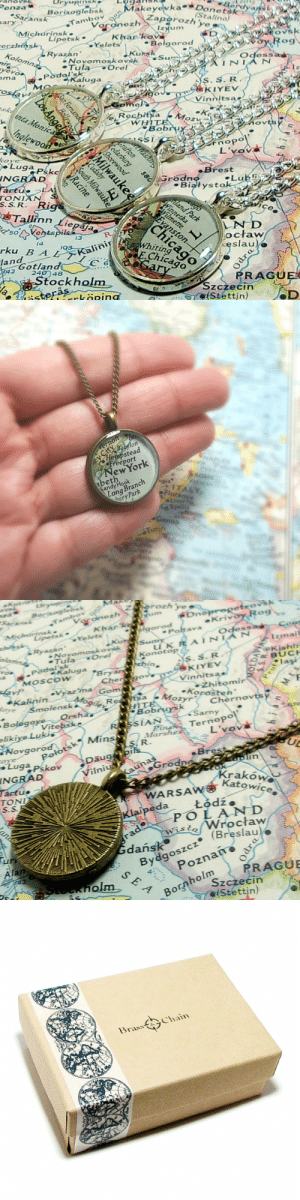 handmadegift-ideas:    Create your own Vintage Map Necklace! It's Easy! Just check out and convo me your destination! Anywhere In The World!     I use only vintage maps to insure that each piece is truly unique. All the resin I use to create my jewelry is hand poured by me, creating an unbreakable, waterproof seal to ensure the preservation of the map. Made with antique brass components. This necklace measures 18 in standard length. The pendant is 7/8 round.    : akeyevka Do  zyum  Belgorod  Borisoglebsk  Stalino)  Saransk  ary  Tambo  chci rinsk  Khar ko  Lipetsk  erzhisk  ■Ye lets  Ryazhn  Odess  Novomoskovsk  TulaOrel  yevo  Podol'sk  Kaluga  ma  KIYEV  Vinnitsa  L'vov  cove  Brest  INGRAD  Bialystok  stoiLub  S.S. R  ice  e Tallinn Liepaja  eso Ventspils  rku B A  lane otland  าก  octaw  eslau  WhitinSS  EChicao  alinir/  2189  PRAGUE  Stockholm  OC  Szczecin  Stettin)  köping   on  Hempstead  Freeport  NewYork  andy Hook  APLES  abeth  ROME  ATICAN el  ITALY  Florence  Livorce  pezia  Long Branch  buryPark  eno  Turin  usanne  ice  vignon   eKrivc  Polt ava  Odess  Novomosk ov  Tula Orel  zinail  Konotop  -Kaluga  KIYEV  Vinnits ae  MOScoW  lagi  -Zhitomir  Korosten  ozyrCherno  Smolenska/09, SR  sa  BologoVitebsk  rsha.  Vitebs  SSIAN  Sarny  eliki  Marshes  ovgorod kMin  Polotsk  L'vov  R.  Pskov Daug  Brest  INGRAD  Kraków  Katowicee  TONI  W 좋  WARSA  eda Łódź.  istoWroctaw  dańskC  (Breslau  Afan  Bydqoszcz (BaW  4  PRAGU  Bornholm o  Szczecin  (Stettin)   31-as  Chain handmadegift-ideas:    Create your own Vintage Map Necklace! It's Easy! Just check out and convo me your destination! Anywhere In The World!     I use only vintage maps to insure that each piece is truly unique. All the resin I use to create my jewelry is hand poured by me, creating an unbreakable, waterproof seal to ensure the preservation of the map. Made with antique brass components. This necklace measures 18 in standard length. The pendant is 7/8 round.