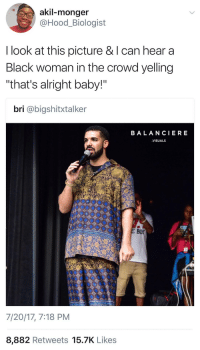 """<p>You know the aunties in the back be hypin you up (via /r/BlackPeopleTwitter)</p>: akil-monger  @Hood_Biologist  I look at this picture & l can hear a  Black woman in the crowd yelling  """"that's alright baby!""""  bri @bigshitxtalker  BALANCIERE  VISUALS  Bor  7/20/17, 7:18 PM  8,882 Retweets 15.7K Like:s <p>You know the aunties in the back be hypin you up (via /r/BlackPeopleTwitter)</p>"""