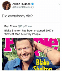 Alive, Pop, and Scream: Akilah Hughes  @AkilahObviously  Did everybody die?  Pop Crave @PopCrave  Blake Shelton has been crowned 2017's  Sexiest Man Alive' by People.  Blake  Shaltnn scream