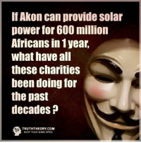 ☝🤔: Akon can provide Solar  power for 600 million  Africans In 1 year,  what have all  these charities  been doing for  the past  decades  TRUTHTHEORY COM  KEEP YOUR MIND OPEN ☝🤔