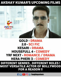 #AkshayKumar: AKSHAY KUMAR'S UPCOMING FILMS  LAUGHINO  GOLD DRAMA  2.0 SCI FIC  KESARI DRAMA  HOUSEFULL 4 COMEDY  YRF NEXT-ROMANCE DRAMA  HERA PHERI 3 - COMEDY  DIFFERENT GENRES, DIFFERENT ROLES!  MOST VERSATILE ACTOR OF BOLLYWOOD  FOR A REASON!  E  (2回  /laughingcolours #AkshayKumar