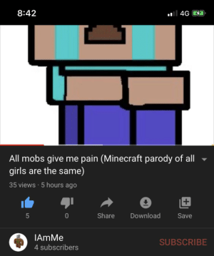When your Minecraft dog dies:: al 4G D  8:42  All mobs give me pain (Minecraft parody of all  girls are the same)  35 views · 5 hours ago  Share  Download  Save  5  IAmMe  SUBSCRIBE  4 subscribers When your Minecraft dog dies: