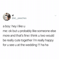 Cute, Memes, and Happy: al  @al_peaches  a boy: hey i like u  me: ok but u probably like someone else  more and that's fine i think u two would  be really cute together i'm really happy  for u see u at the wedding !! ha ha